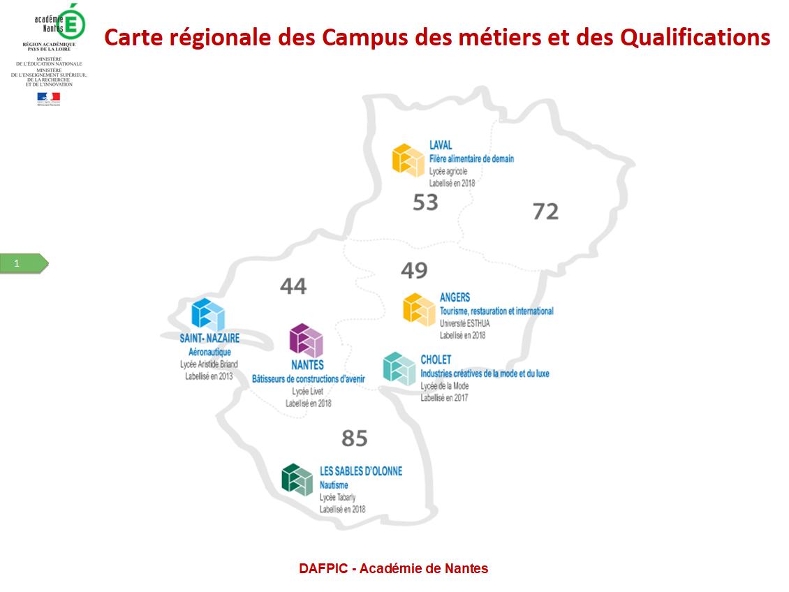 Carte régionale des Campus des métiers et des Qualifications